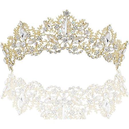 Wedding Baroque Luxury Crystal AB Bridal Crown Tiaras Gold US Light S0S0