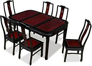 ChinaFurnitureOnline Rosewood Dining Table, 60 Inches Longevity Motif Dining Set with 6 Chairs Two Tone Dark Cherry and Black Ebony Finish