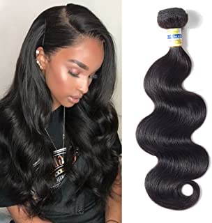 CCOLLEGE Brazilian Hair Body Wave 10 Inches 1 Bundles 10A 100% Unprocessed Virgin Human Hair Natural Black Color