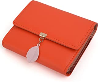 UTO Geldbörse Damen Pu-Leder Kleine Brieftasche für Damen Blatt Anhänger 5 Kartensteckplätze 1 ID Fenster Kartenhalter Org...