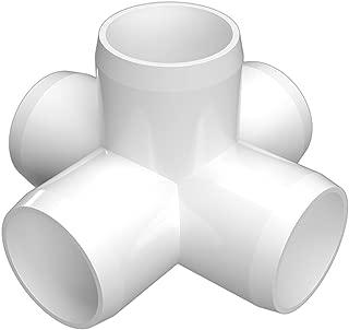 FORMUFIT F0015WC-WH-4 5-Way Cross PVC Fitting, Furniture Grade, 1