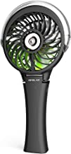 OPOLAR Small Handheld Portable Misting Fan, 2500mAh Battery Operated Rechargeable Personal Water Spray Mist Cooling Fan Humidifier, 3 Speeds, Neon Light, Quiet and Powerful Airflow 180° Foldable Fan