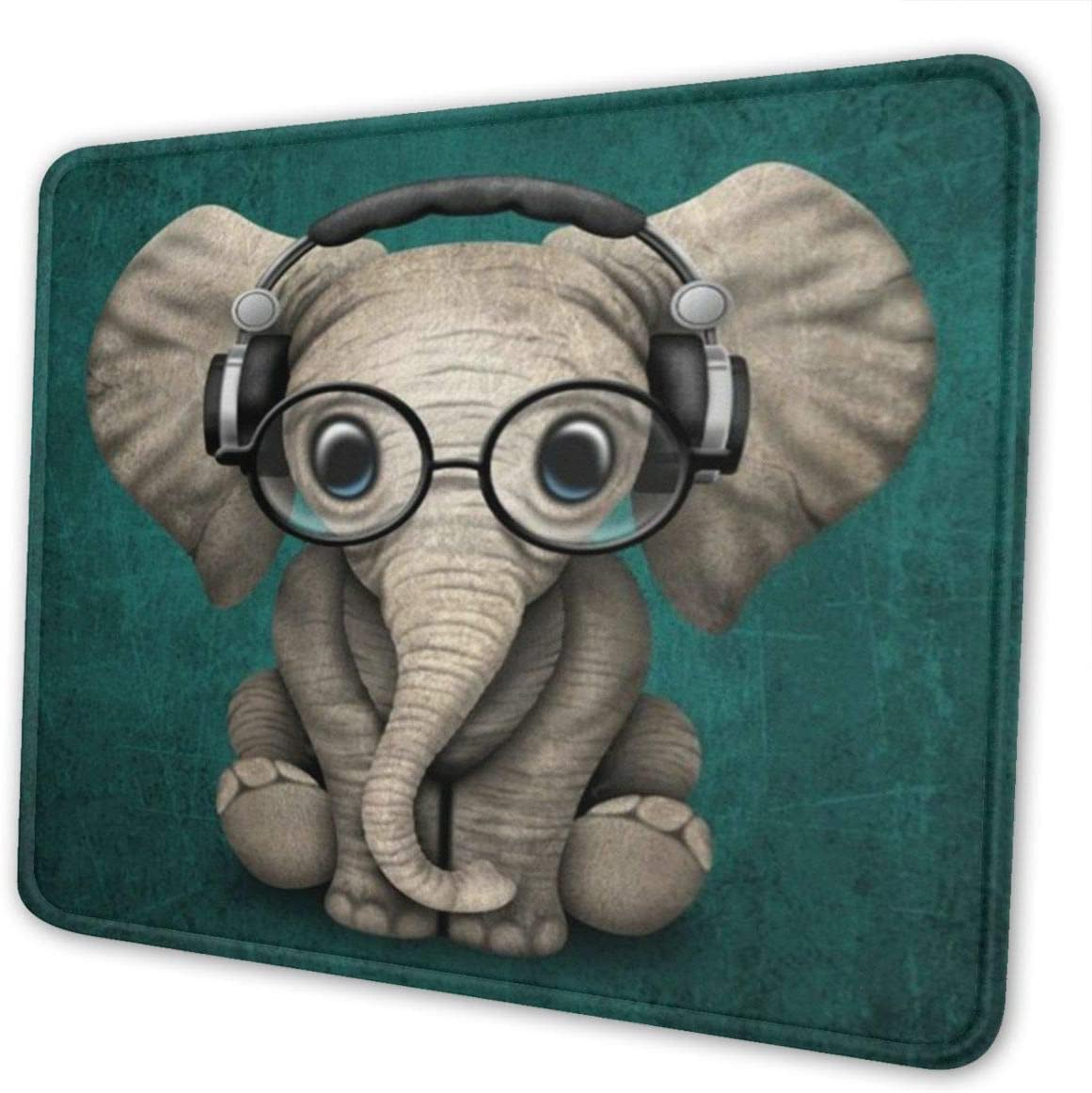 MSGUIDE Mouse Pad with Max 44% OFF Stitched Glas Edge Baby Branded goods Wearing Elephant