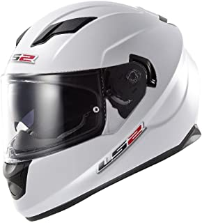 LS2 Stream Solid Full Face Motorcycle Helmet With Sunshield (White, X-Large)