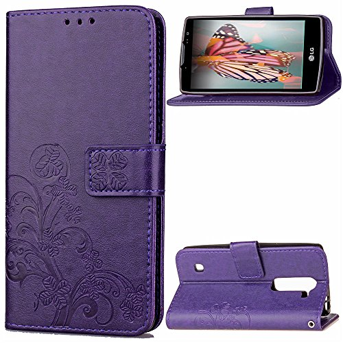 EMAXELERS LG Spirit 4G Hülle für Mädchen Elegant Retro Lucky Clover PU Leder Handy Schutzhülle Ledertasche für LG Spirit 4G LTE H440N C70,Purple Clover