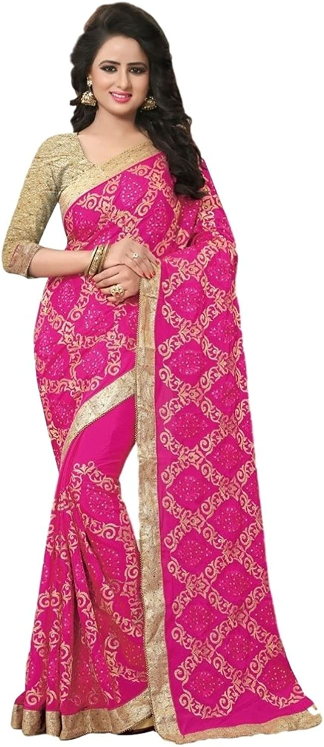 EthnicWear Indian Latest Traditional Pink color Simple Beautiful Festival Party New Crape Saree Saris