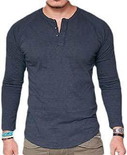Joe Wenko Men Long Sleeve Tees Scoop Neck Button Slim Solid T-Shirts