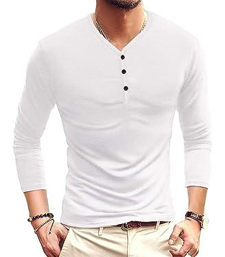KUYIGO Mens Long and Short Sleeve Henleys T-Shirts Buttons Placket Plain Summer Cotton Shirts
