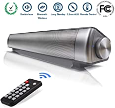 Sound Bar Wired and Wireless Bluetooth Home Theater TV Stereo Speaker 2.0 Channel Remote Control Dual Connection Methods for TV PC Smartphones Music and Movie (Silver)