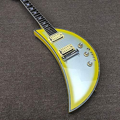 YYYSHOPP Guitars & Gear Guitarra eléctrica de 6 cuerdas, guitarra luna, oro rosa, diapasón de...