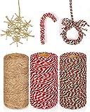 KAHEIGN 3Pz Natale Corde Di Iuta E Spago Di Cotone Rotoli, 984 Piedi Rosso Bianco Verde Corda Avvolgente Per Natale Artigianato Fai Da Te Regali Di Natale Regali Di Cottura