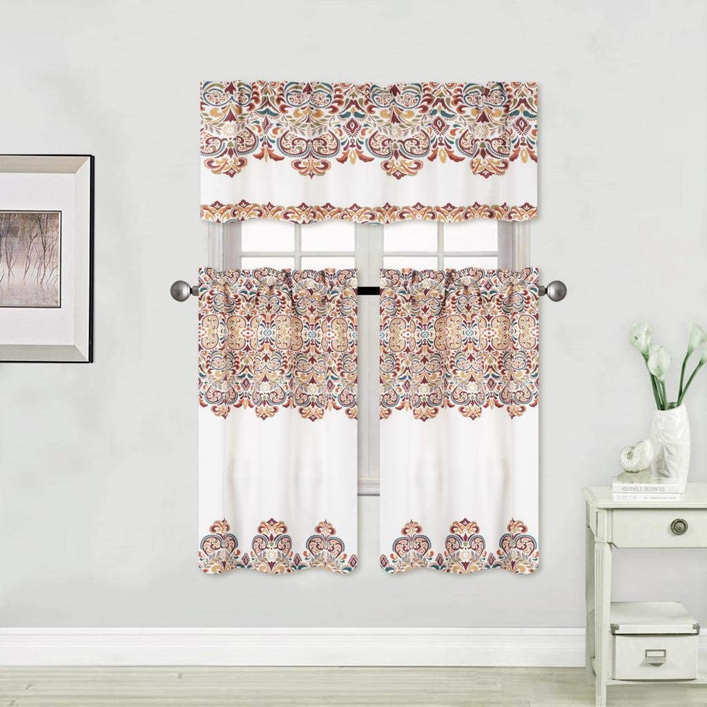 3Pice Floral Blackout Kitchen Curtian Window Treatment Award-winning store with Virginia Beach Mall Set