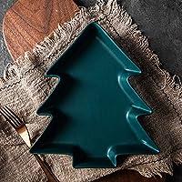 ライトラグジュアリーセラミックノルディックスタイル絶妙なクリスマスツリープレートホームセラミック料理,Drak Green 17*16*3cm