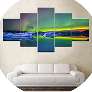 5 Panel Northern Light Canvas Wallpapers Modern Modular Poster Art Canvas Painting for Living Room Home Deco,30x40 30x60 30x80cm,No Frame