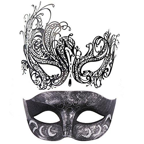 Thmyo 2 Pack Venetian Masquerade Mask for Couples, Mardi Gras Halloween Ball Mask (Antique Silver black & black)