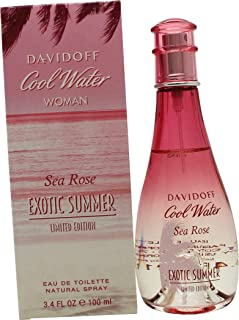 Davidoff Cool Water Sea Rose Exotic Summer Eau De Toilette Spray for Women, 3.4 Ounce