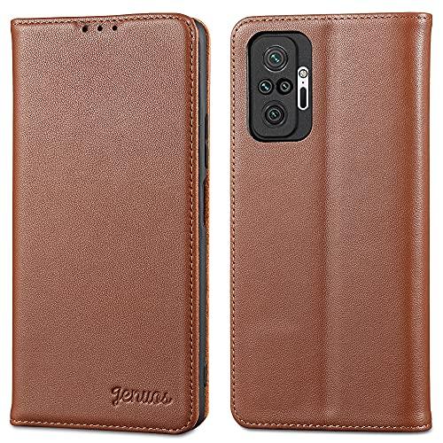 Jenuos für Redmi Note 10 Pro Hülle Leder,Xiaomi Redmi Note 10 Pro Max Handyhülle Klappbar Schutzhülle Flip Cover mit [Magnetic Closure] [Card Slot] [Kickstand] -Braun(MN10P-PD-BN)