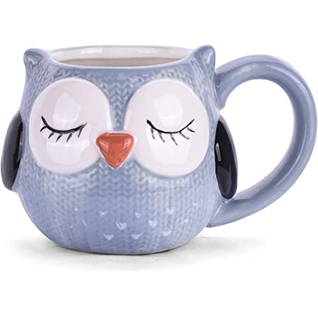 Angelice Home 3D Cute Grayish-blue Owl Coffee Mug, Funny Owl Ceramic Coffee Cup for Children Teenagers Lady