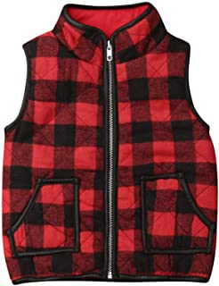 Toddler Baby Girl Boy Christmas Plaid Qulted Puffer Vest Padded Gilet Jacket Outwear Winter Outfit Clothes