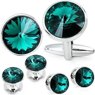 Cufflink and Studs Tuxedo Set Silver Color with Swarovski Crystals in Jet Hematite, Dark Blue, Crystal Grey,Purple, Green