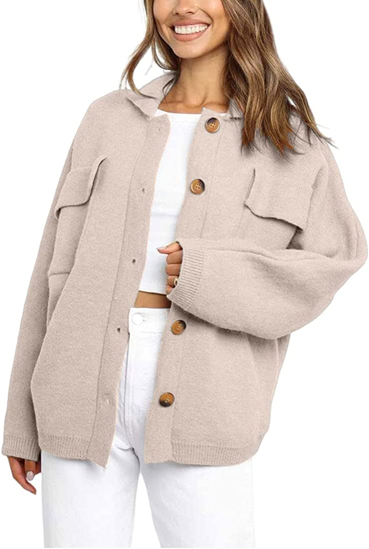 SUPRELOOK Woman's Long Sleeve Button Down Knitted Sweater Jacket Turn Down Collar Cardigan Coat with 4 Pockets