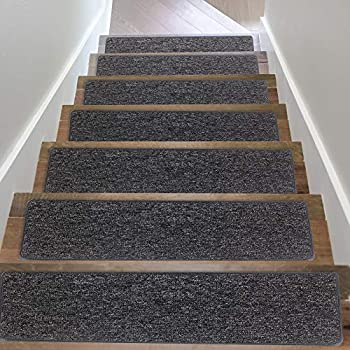 Non Slip Stair treads Carpet Cozy Soft Stair Carpet for Wood Stair Treads Washable Stair Mat Easy to Clean Safe for Kids Pets Elder  15 Pack - 8  X 30  Gray