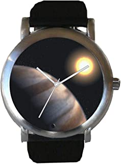 Planet Star HD 209458 is The Hubble Image on The Dial of The Brushed Chrome Unisex Size Watch with a Black Leather Strap