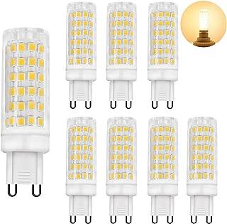 Zhzai G9 LED 5.5W Flicker-Free Ceramic Base LED Light Bulbs G9 Base R80 110v-130v Bi-Pin 60W Equivalent White 550LM Warm White (3000K) Pack of 8