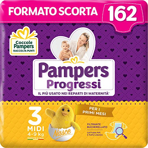 Pampers Progressi, Babywindeln Taglia 3 (164 Unità)