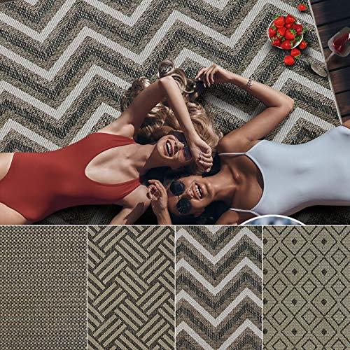 Outdoor Teppich Clyde für Terrasse und Balkon | wetterfester Sommerteppich für Ihren Garten | robustes Flachgewebe für außen und innen | modernes Design | Modell Chevron mit ZickZack Muster 160x230 cm