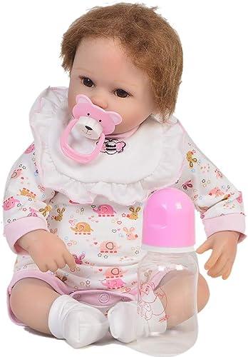 MCCW Neubuchten-Puppensimulation Baby niedliche Flasche und Puppe Frühschultative Spielzeug Kinder Geschenk Set 42 cm