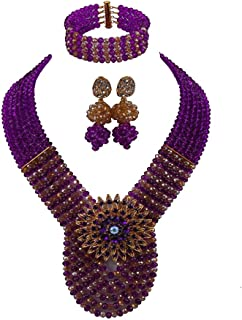 laanc Womens Wedding 6 Rows Champagne Gold AB and Multicolor Crystal Beads African Jewelry Sets