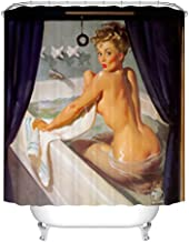Fangkun Shower Curtain Sexy Pretty Girl Bathing Design - Vintage Retro Pin Up Girls Bathroom Curtains Art Painting Decor Set - 12pcs Shower Hooks (72 x 72 inches, YL063#)