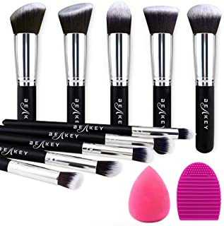 BEAKEY Makeup Brush Set, Premium Synthetic Kabuki Foundation Face Powder Blush Eyeshadow Brushes Makeup Brush Kit with Ble...