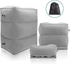 Maliton Inflatable Travel Foot Rest Pillow- Toddler & Kids Bed Airplane Bed, Inflatable Foot Rest for Air Travel, Adjustable Height Leg Rest Pillow for Airplane, Home, Trains, Cars(Grey, 1 Pack)