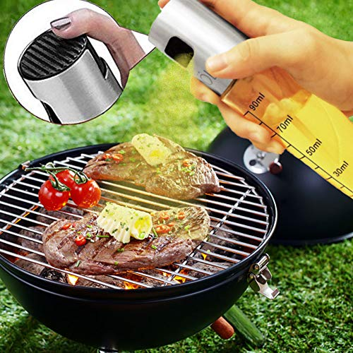 CHUANGSIxx Olive Oil Sprayer 3.4-Ounce Capacity Food-Grade Glass Bottle Vinegar Mister Dispenser for Cooking BBQ Salad Baking Roasting Grilling Frying 1, Silver AMD Transparent