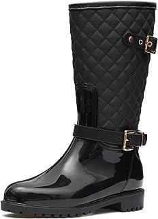 gracosy Stivali di Gomma Donna Pioggia Stivali da Acqua Piatto Chelsea Moda Plaid Giardino Scarpe Impermeabile Antiscivolo...