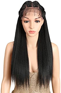 "Joedir 24"" Straight Yaki Free Part 13x4 Lace Frontal Wigs with Baby Hair Hight Temperature Synthetic Human Hair Feeling Wigs For Black Women 180% Density Wigs Black Color 200g(1B)"