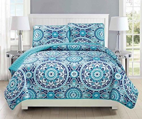 Mk Collection 3pc Bedspread Coverlet Quilted Floral Turquoise Teal Blue Grey Over Size New #185 Full/Queen Over Size