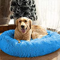 Mellifluous Luxurious Elegant Reversible Round Golden Faux Fur Dog Cat Pet Bed