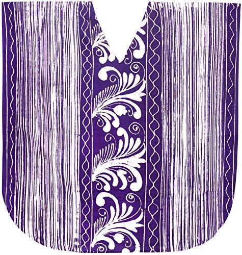 La Leela damas algodón hecho a mano puro dbatik túnica superior vestido noche kimono informal baño boho relajado manga corta floja abeto encubrir loungewear ropa playa la vendimia corto caftán púrpura