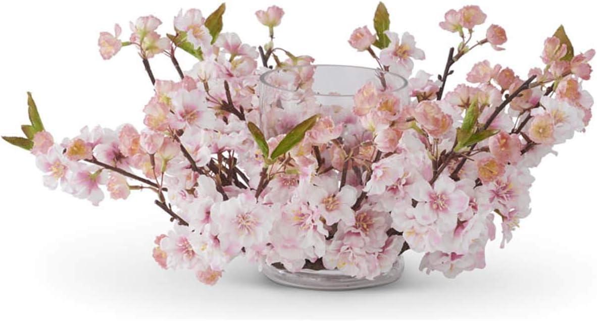 K/&K Interiors 15242A-CR 17 Inch Cream Cherry Blossom Hurricane