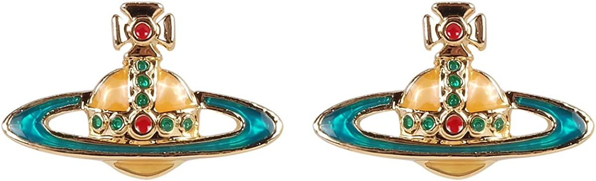 Blue Orbit Yellow Saturn Gold Earrings With packing box