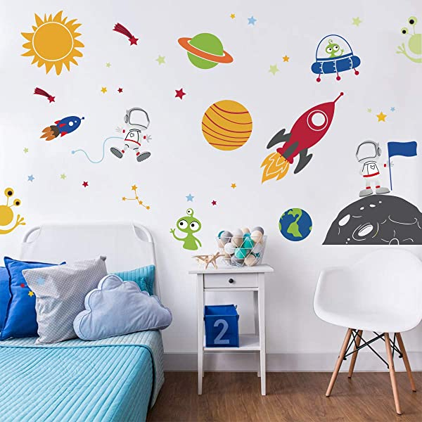 Decalmile Outer Space Wall Decals Planets Rocket Spaceship Robot Alien And Astronaut Kids Wall Stickers Nursery Bedroom Playroom Classroom Wall Decor