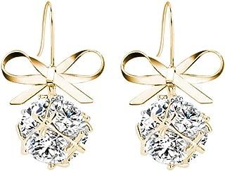 ZhaoGe Fashion Bow Knot Earring, Zircon Dangle Drop Earrings Women Girls