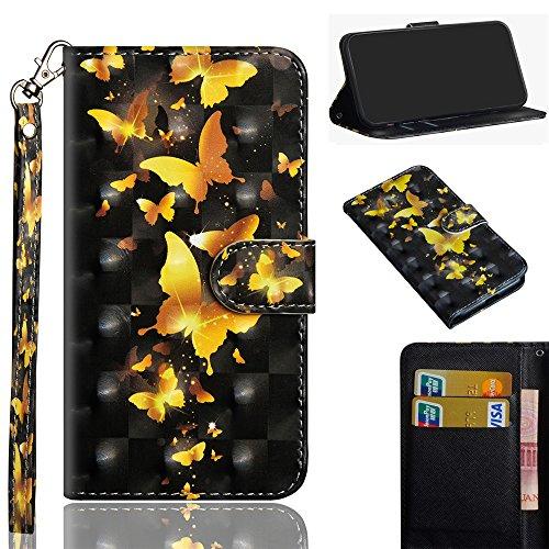 DodoBuy Asus Zenfone Max Pro M2 ZB631KL Hülle 3D Flip PU Leder Schutzhülle Handy Tasche Hülle Cover Ständer mit Trageschlaufe Magnetverschluss für Asus Zenfone Max Pro M2 ZB631KL - Gold Schmetterling