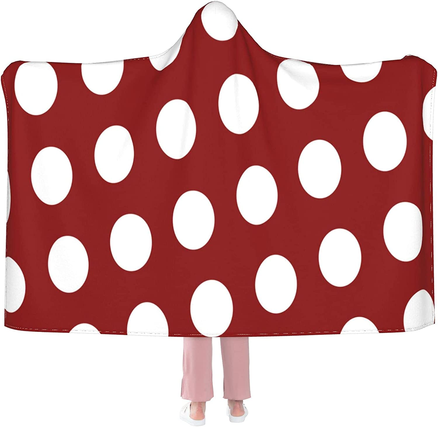 Red Virginia Beach Mall and White Polka Dot Hooded Wearable Blanket Mail order Flannel