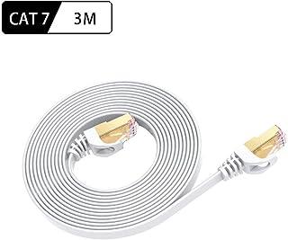 LANケーブル 3m Cat7 ホワイト、イーサネットケーブル ウルトラフラットケーブル 高速 STP 爪折れ防止 RJ45コネクタ ギガビット10Gbps/600MHz 金メッキコネクタ【SHOOTING】 (3m)