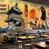 3D Wall Murals Japanese Cuisine Wallpaper Japanese Sushi Tattoo Tattoo Wallpaper Japanese Style Lady Picture Mural-350245Cm