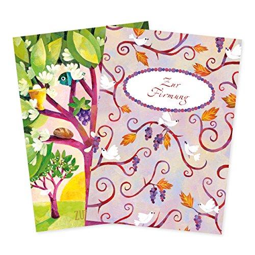 2er Set Glückwunschkarten zur Firmung mit Umschlägen, mit Taube, Kreuz, Fisch, Trauben, Glückwunsch, Danksagung, Klappkarten, edel, christlich
